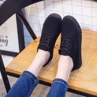 Women's Canvas and Rubber Sneakers with Lace - All Black