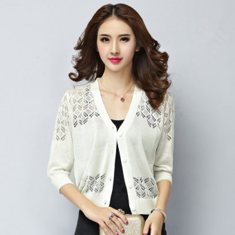 Women's Cardigans Hollow Out V-neck Knitting Small Shawl White -intl