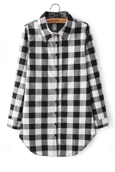 Women's Casual Lapel Plaid Shirt Long Sleeve Shirt - picture 2