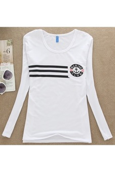 Womens Cute Cotton Printing Loose Long-Sleeved T-Shirt (Color 42)