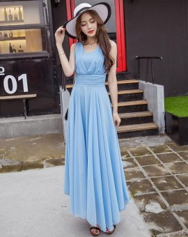 Women's Cute Style Bohemian Dress 2017 New Summer Fashion Long SlimSleeveless Solid Beach Dresses (Sky Blue) - intl - 3