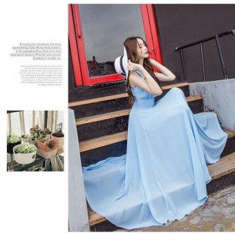 Women's Cute Style Bohemian Dress 2017 New Summer Fashion Long SlimSleeveless Solid Beach Dresses (Sky Blue) - intl - 4