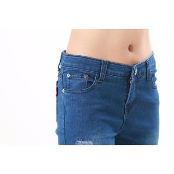 Women's Dark Blue Stitches Tattered Skinny Jeans - 2
