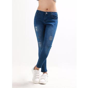 Women's Dark Blue Stitches Tattered Skinny Jeans