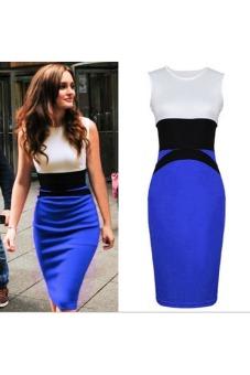Womens Dress Slim OL Pencil Skirt Stitching Dress (Blue)