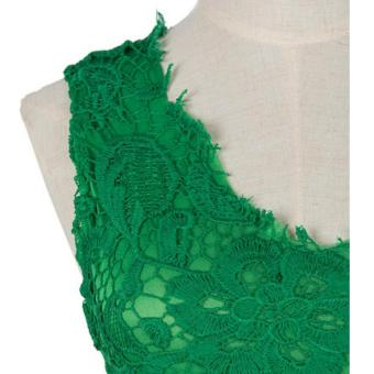 Women's Fashion Hollow Out Sleeveless Lace Cocktail PartyDress(Green) - intl - 5