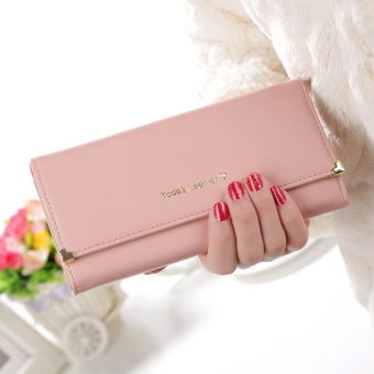 Womens Fashion Long Clutch Purse Handbag PU Leather Card Holder Wallet for Party or Wedding Color:Pink - intl