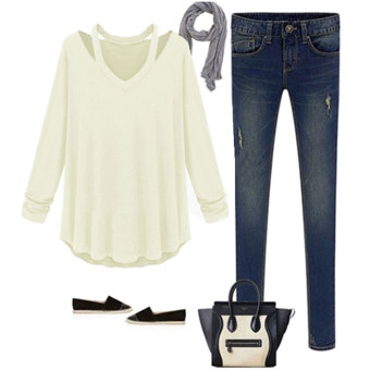 Womens Fashion Off Shoulder Long Sleeve V-Neck Loose Blouse White - Intl - 4