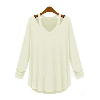 Womens Fashion Off Shoulder Long Sleeve V-Neck Loose Blouse White - Intl