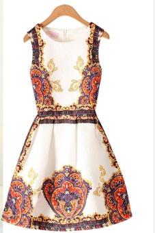 Womens Fashion Sleevelesss Fit Jacquard One-piece Dress 875