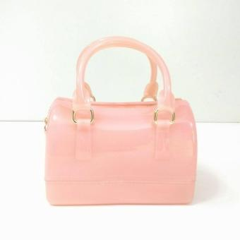 Women's Fashion Top-Handle Handbags Transparent Candy Color Jellysling Bag (Pink) Price Philippines