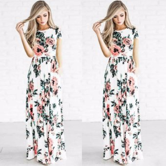 Womens Floral Long Maxi Dress Short Sleeve Evening Party Summer Beach Sundress white - intl