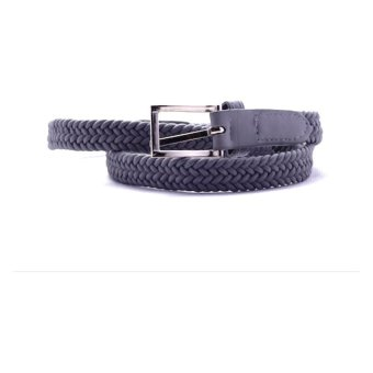 Women's Grey Triple Braided Weave Elastic Stretch Belt
