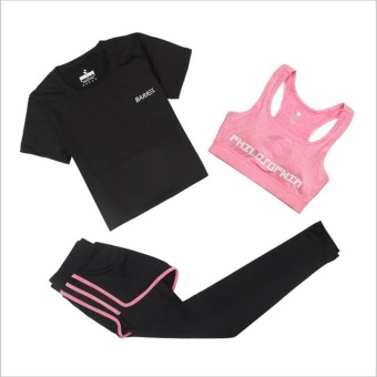 Women's Gym Sports Running Clothes 3pcs Suit Lady FitnessShirts+Gym Yoga Bra+High Waist Tight Sport Leggings - intl