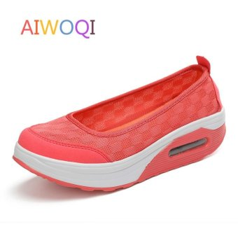 Women's Height Increasing Shoes Slip On Casual Sneaker One SlipLoafers AIWOQI(RED) - intl