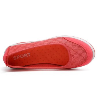 Women's Height Increasing Shoes Slip On Casual Sneaker One SlipLoafers AIWOQI(RED) - intl - 4