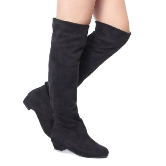 Womens High Heels Suede Boots Thigh High Slouch Over The Knee Pull On Stilettos - Intl - 4