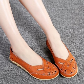Women's Hollow Out Garden Casual Leather Flat Loafers Shoes - intl - 2