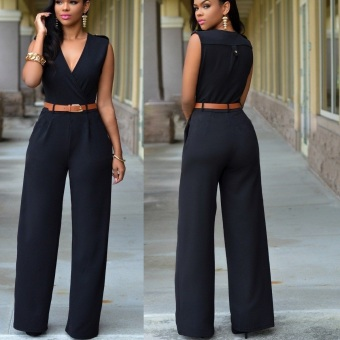Womens Jumpsuit Sexy V-neck Wide Leg Slim Casual Overalls(Black)
