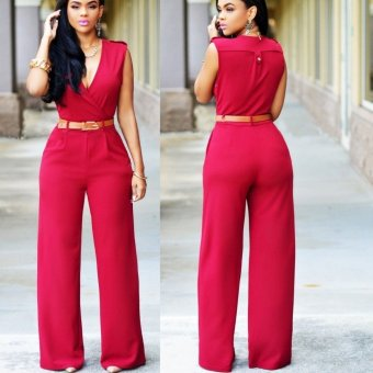 Womens Jumpsuit Sexy V-neck Wide Leg Slim Casual Overalls(Red)