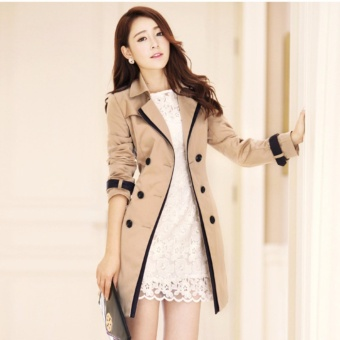 Women's Korean Casual Double-Breasted Trench Coat Overcoat LadiesFashion All-match Coats Jackets Outerwear-Khaki - intl