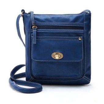 Women's Leather Satchel Cross Body Shoulder Messenger Bag Blue