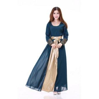 Women's Muslim Splicing Long Sleeve Maxi Dress (Navy blue) (Intl) - 2