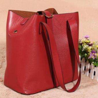Women's new fashion Satchel Handbag Genuine Leather shoulderbag(red) - 3