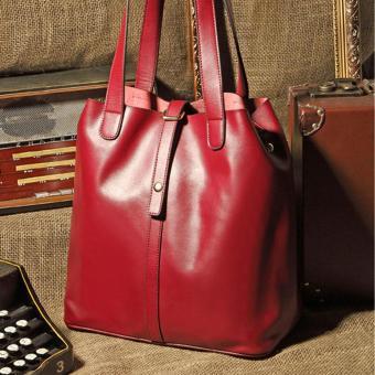 Women's new fashion Satchel Handbag Genuine Leather shoulderbag(red) - 2