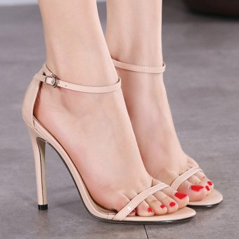 Womens Open Toe High Heel PU Leisure Sandals Apricot - INTL Price Philippines