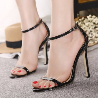 Womens Open Toe High Heel PU Leisure Sandals Black - INTL Price Philippines