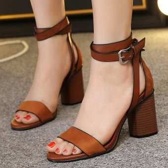 Womens Open Toe Square Heel Suede London Sandals with Buckle Brown - intl - 2