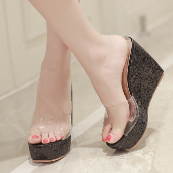 Womens Open Toe Wedge PU Casual Sandals with Sequined Black - intl