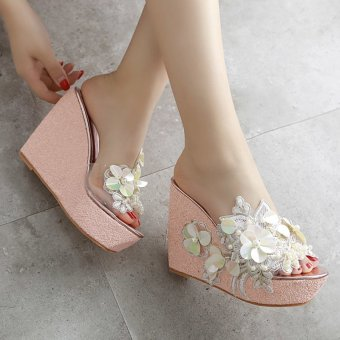 Womens Open Toe Wedge PU Korean Sandals with Pearl Pink - intl
