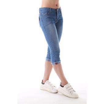 Women's Plain Vintage Blue Capri Short - 4