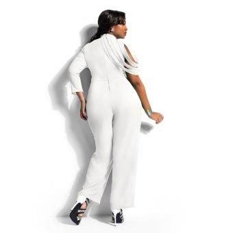Women's Plus size Chiffon Personalized Sleeve Jumpsuits Siamesetrousers(White) - 3
