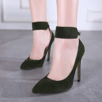 Women's Pointed Toe Stiletto Pumps Elegant Ankle Strap Heels Green