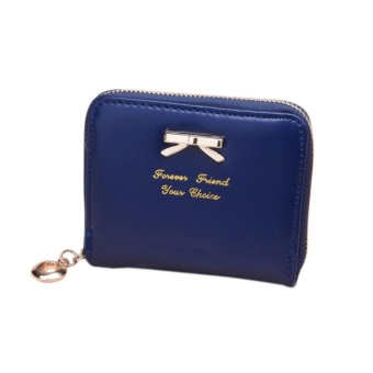 Women's Purse 2017 Coin Purse Clutch Women Pouches Wallets ShortSmall Bag PU Leather Female Purses For Coins Blue - intl