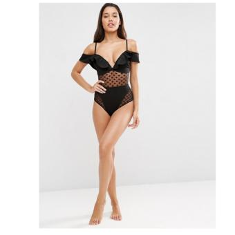 Women's Sexy Black lace One-piece Bathing Suit Summer Bikini Set -intl