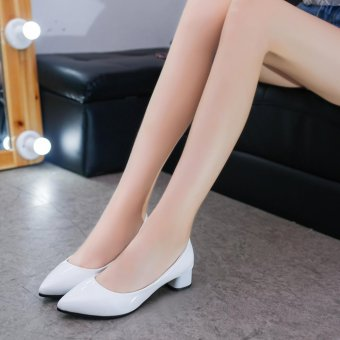 Women'S Shoes With Thick Heel Pu Leather Mid Heel Shoes(White) -intl - 3