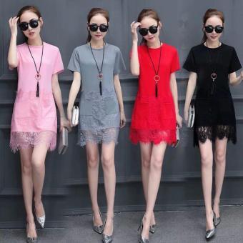 Women's Short Sleeve Casual Loose T-Shirt Dress(Red) - 3
