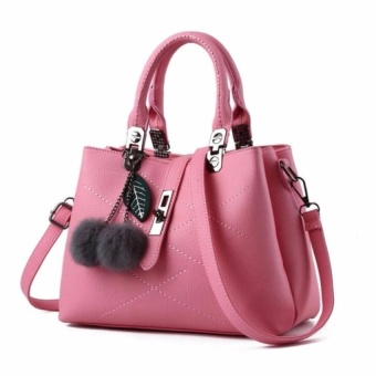 Womens Slingbag PU Leather Shoulder Top Handle Bags (Pink) - intl Price Philippines