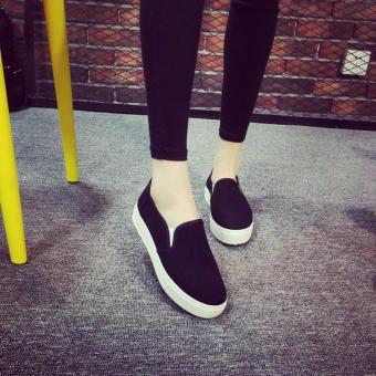 Women's Slip On Loafers Canvas Shoes - Black - 2