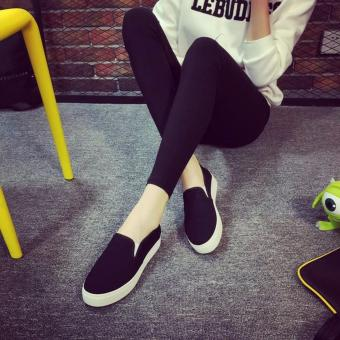 Women's Slip On Loafers Canvas Shoes - Black