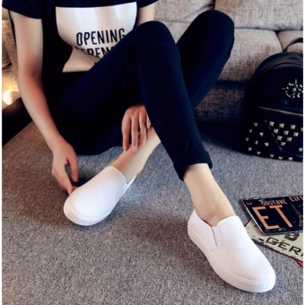 Women's Slip On Loafers Canvas Shoes - White