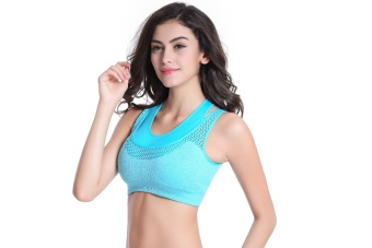 Women's Sports Yoga Running Vest Professional Shock Fake Two VestGym Sports Lingerie - Blue - intl