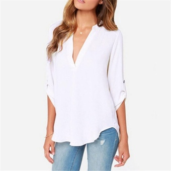 Women's Spring Summer Autumn Fashion Casual Plus Size Tops Lady'sV-neck Long Sleeve Loose Roll-up sleeve Blouse (Grey) - intl - 4
