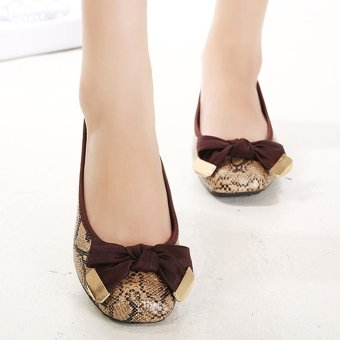 Women's Square Toe Flat Loafers Japanese Casual Shoes with BowCoffee - INTL - 3
