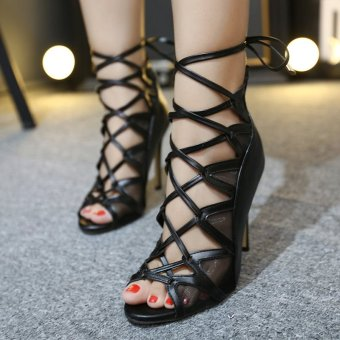 Women's Stiletto Sandals London Party Ankle Strap Heels with BuckleBlack