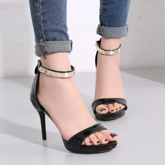Women's Stiletto Sandals London Plus-size Ankle Strap Heels Black -intl